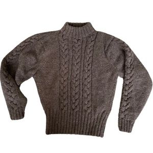 Brown Cable Knit Turtleneck Sweater